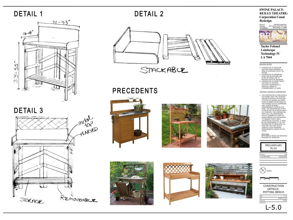 Construction plan for potting bench