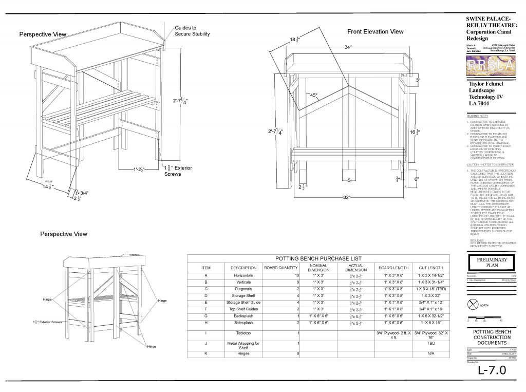 Construction documents for folding potting bench