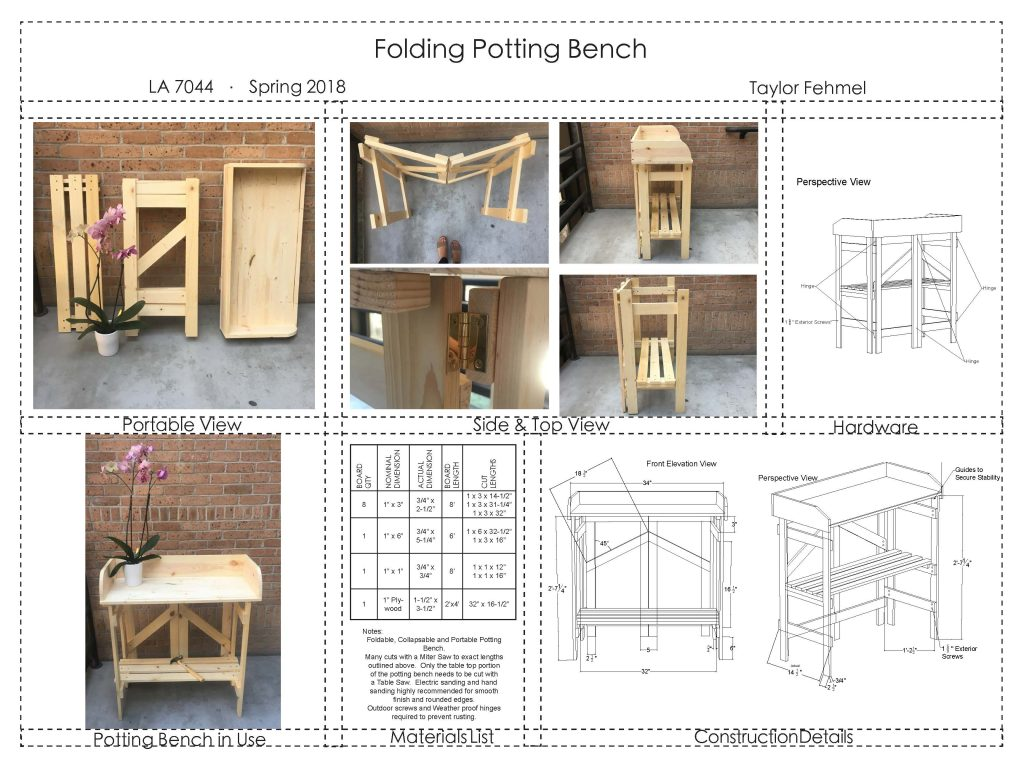 Schematics for folding potting bench
