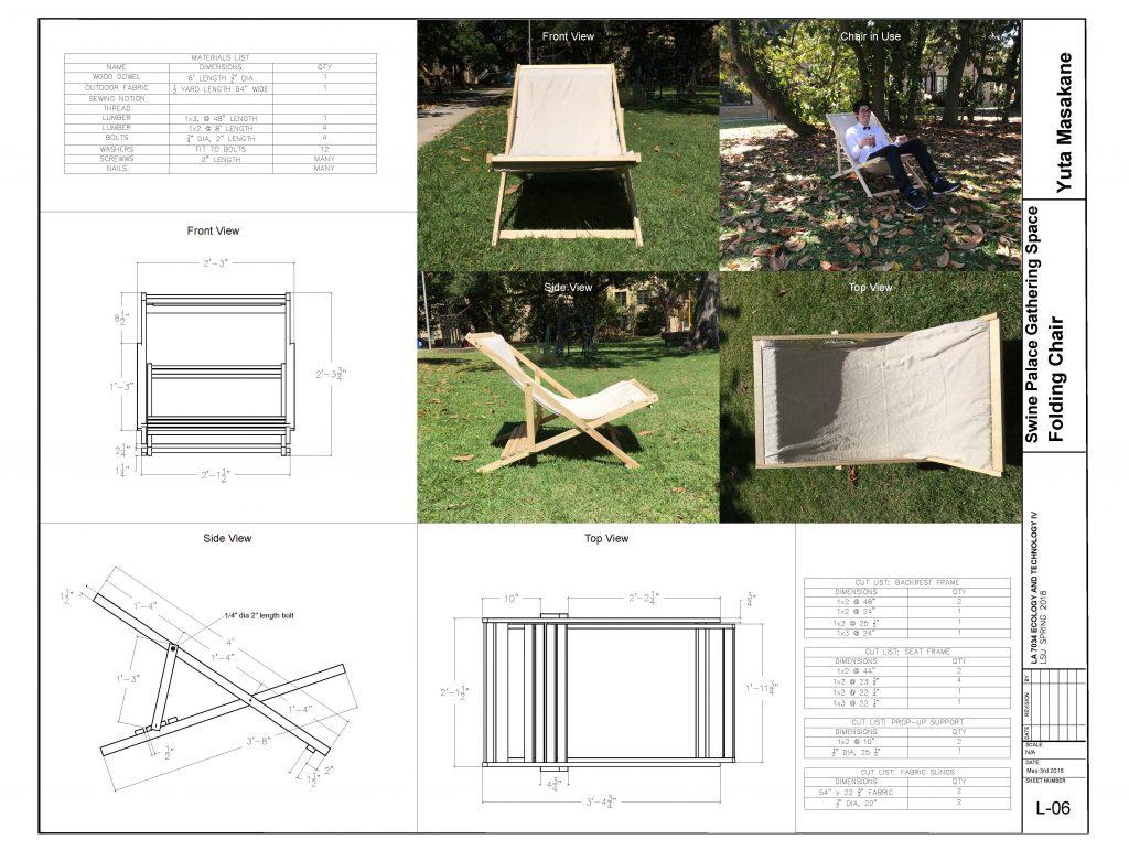 Design schematics for a folding chair