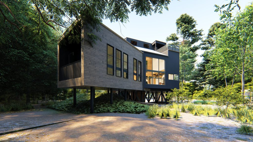 House built on stilts surrounded by trees