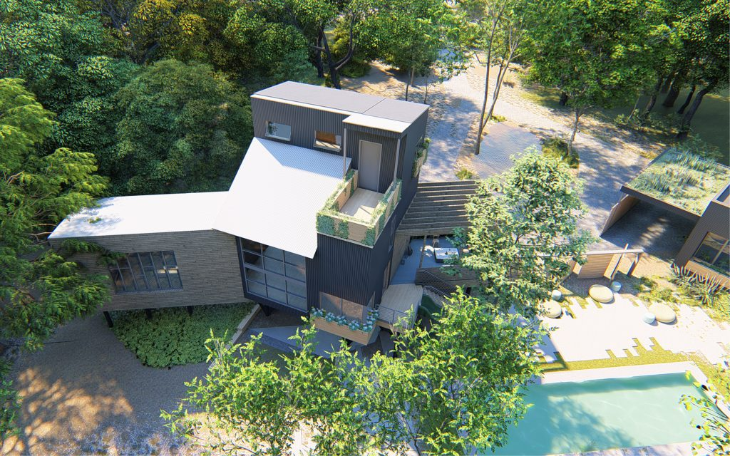 Overhead view of house built on stilts surrounded by trees