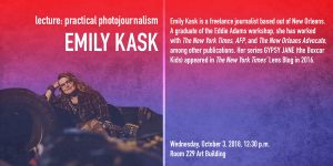 "lecture ""practical photojournalism"" by Emily Kask"