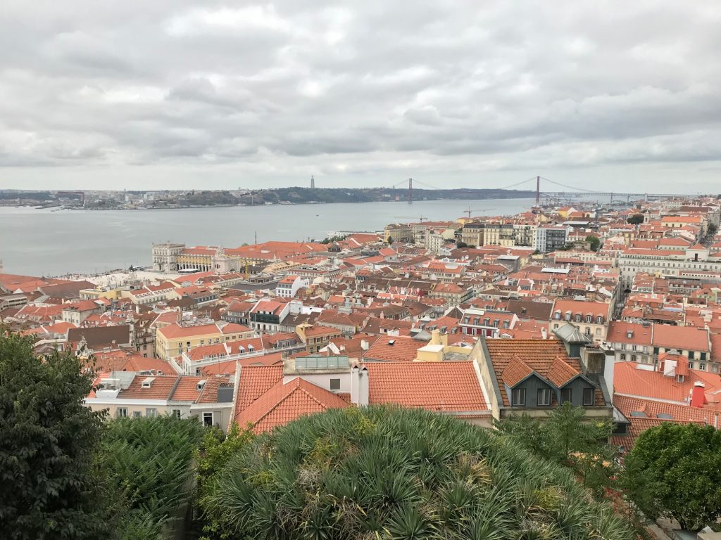 View looking out over the orange rooftops of a Portuguese city