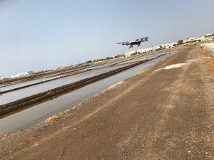 Drone over salt flats