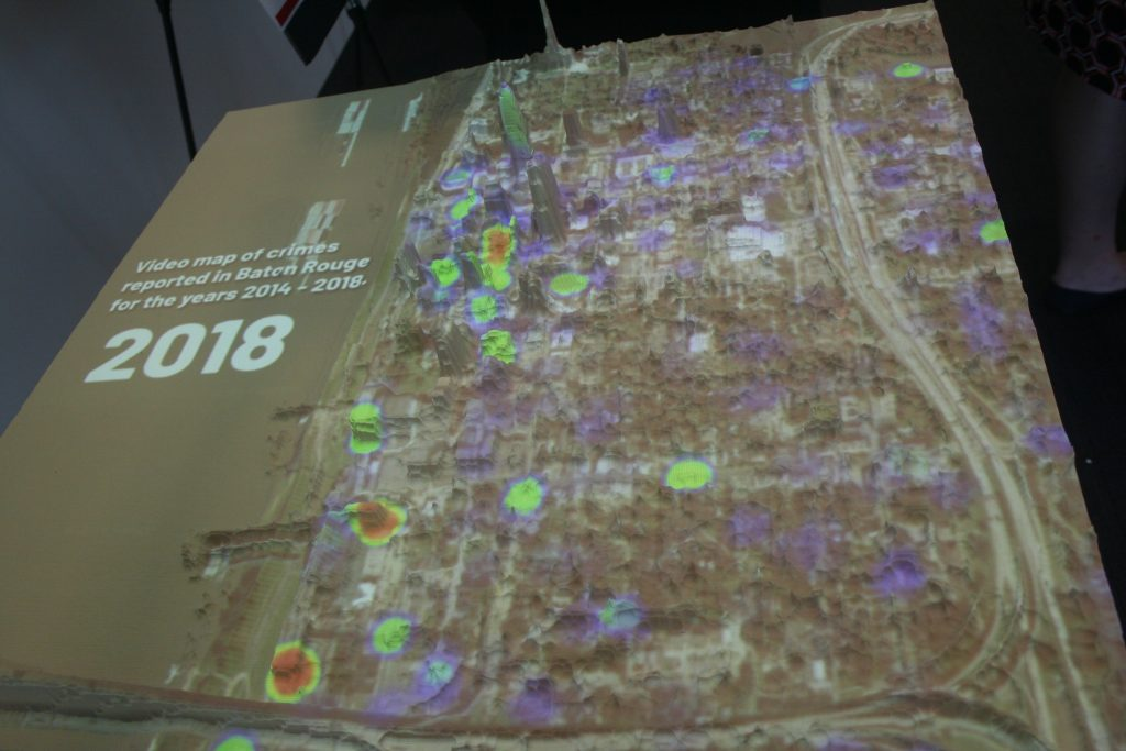 Map visualizing crime rates across Baton Rouge