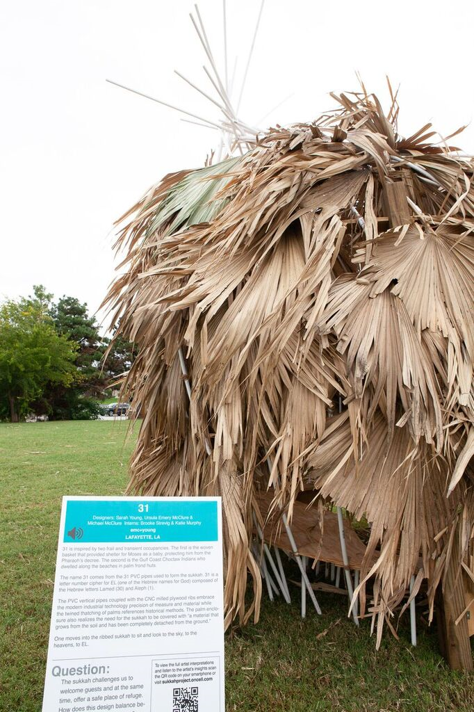 A hut made of palm leaves stands in a park