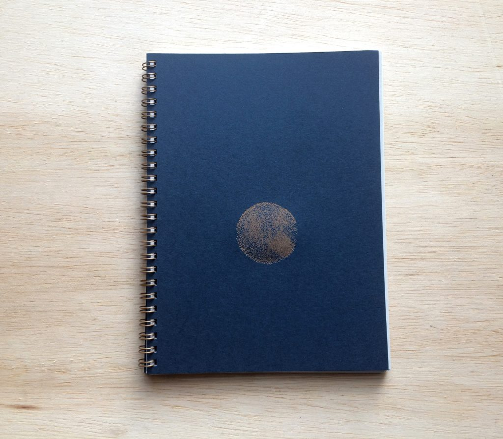 Spiral bound book with blue cover