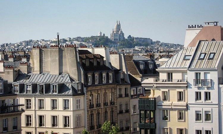 View of city rooftops with Montmarte in background