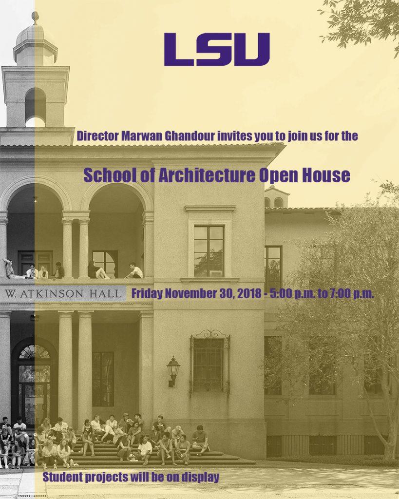 School of Architecture Open House Nov. 30, 2018