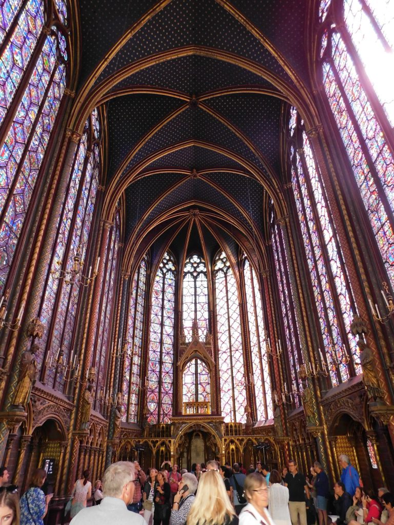 Sainte Chapelle interior, tall stained glass windows