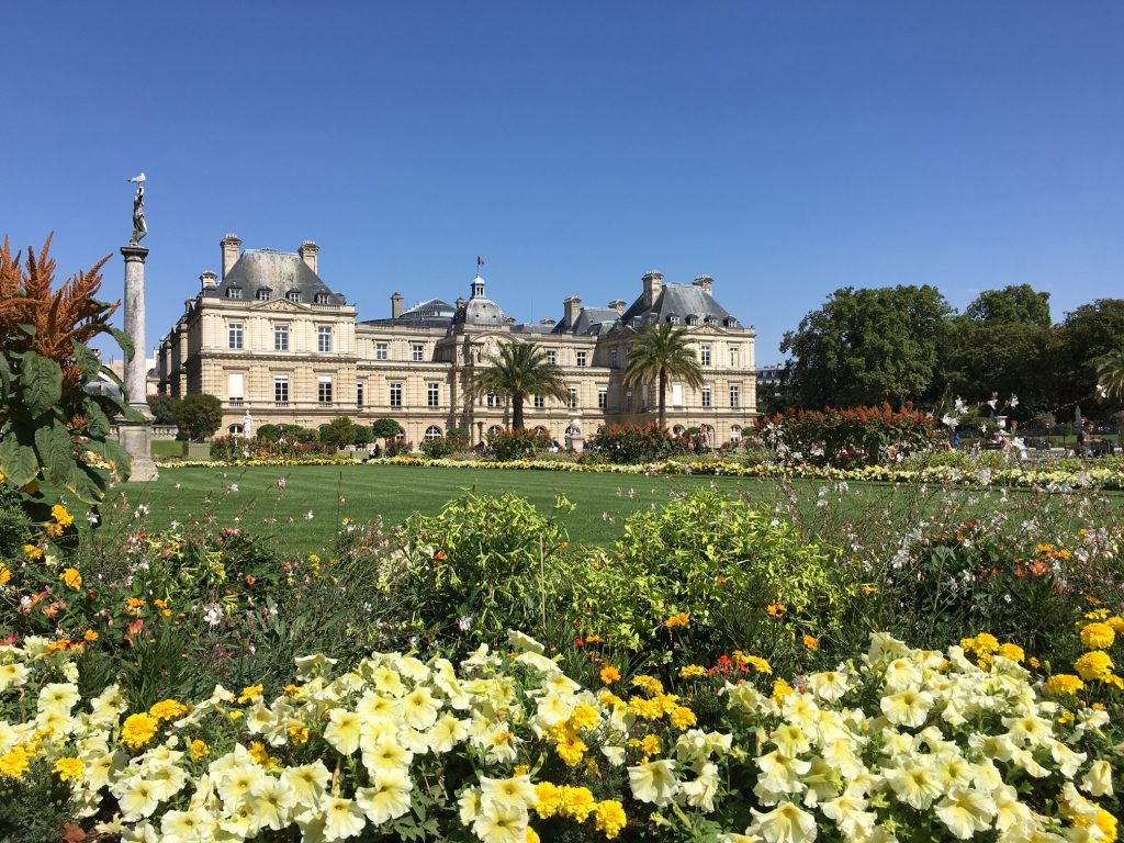 Luxembourg Gardens, palace in background, yellow flowers in foreground