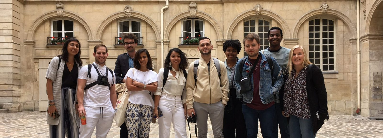 Architecture students in Paris courtyard