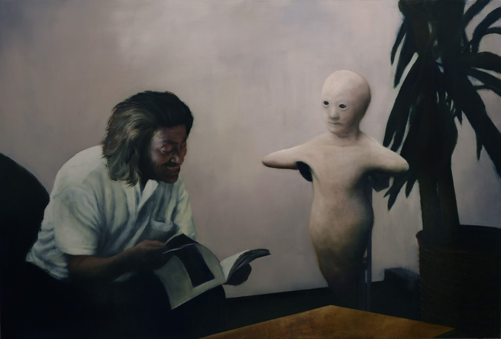 Painting of man reading book