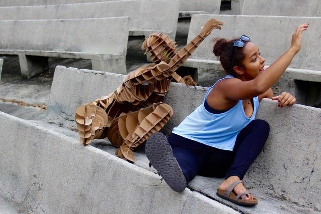Girl and cardboard clone