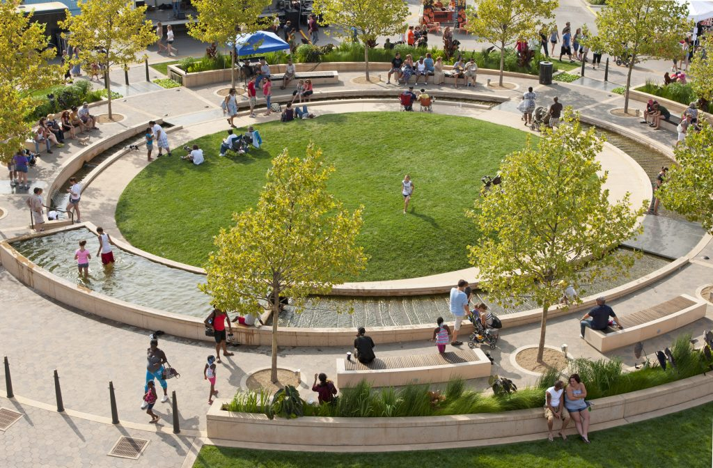 aerial view of circular green in park