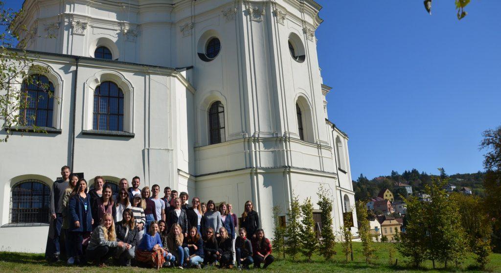 Students by historic Křtiny Castle