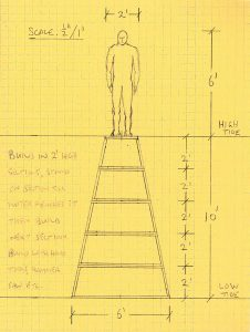 Sketch of man standing on tower