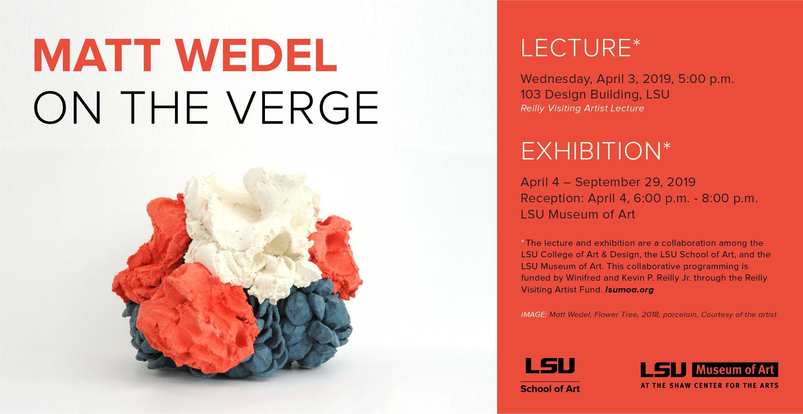Matt Wedel Lecture April 3, 2019 at 5 p.m. Ceramic sculpture with red, white, and blue