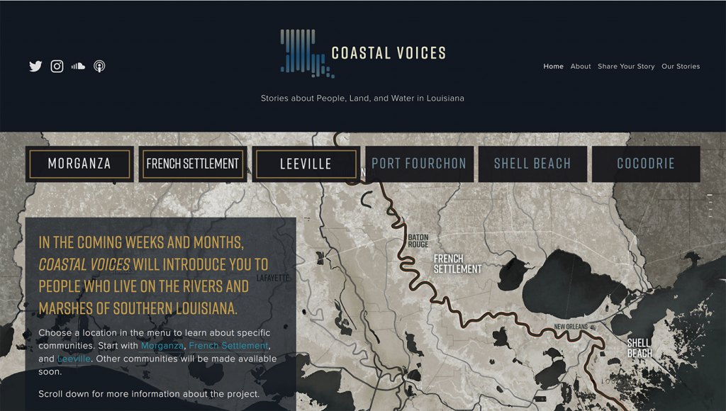 Web page with map of Louisiana coast in background