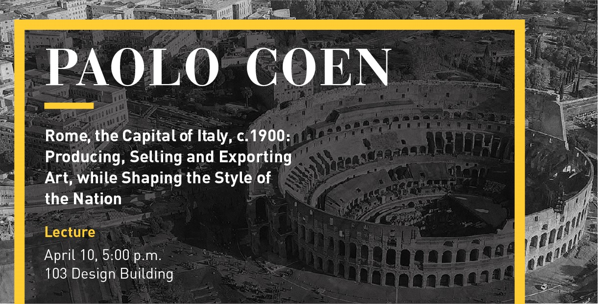 Paolo Coen lecture April 10, Colosseum in Rome in background