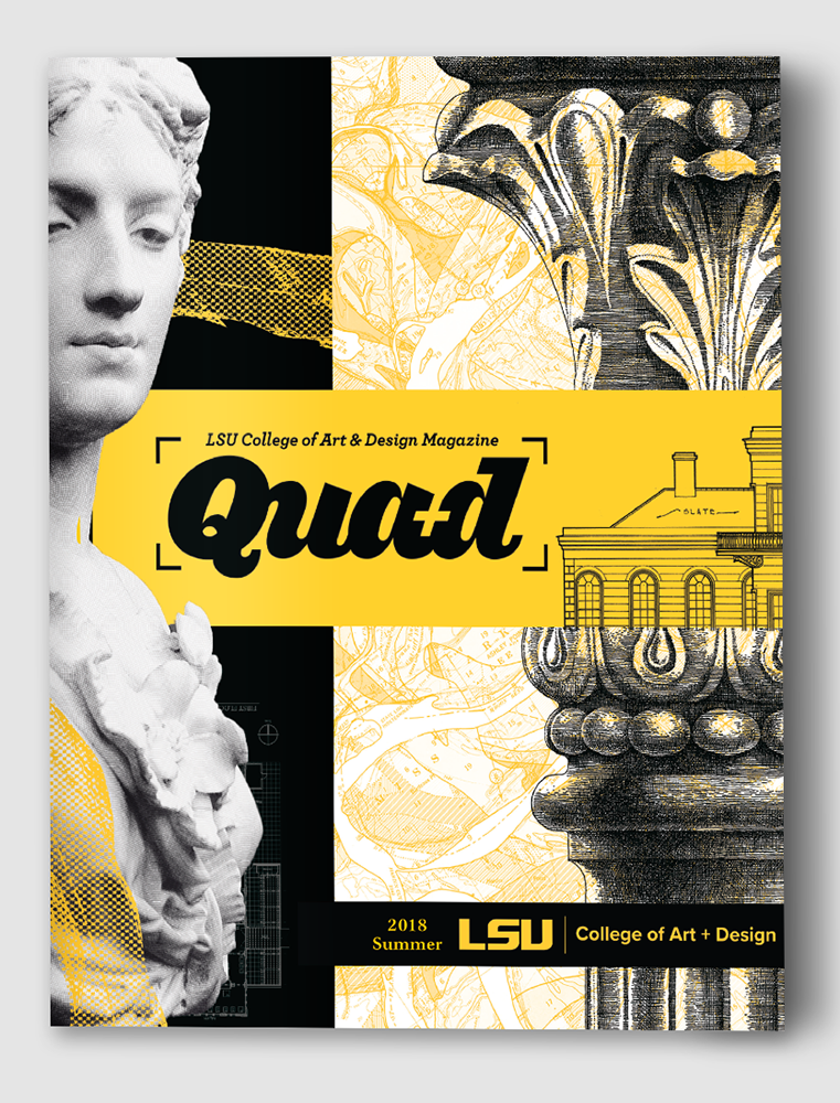 Magazine cover with yellow and black pattern