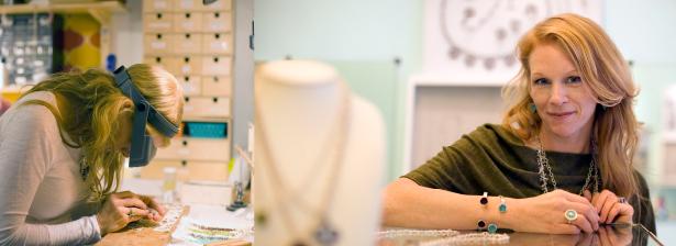 Dominique Giordano in jewelry studio