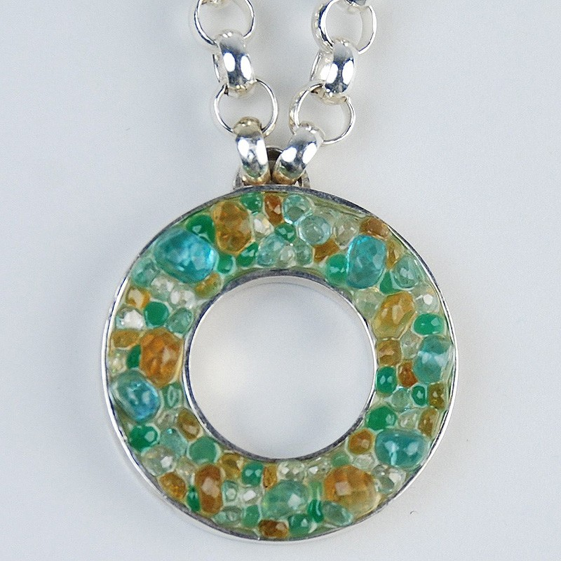 Pendant with blue and green stones