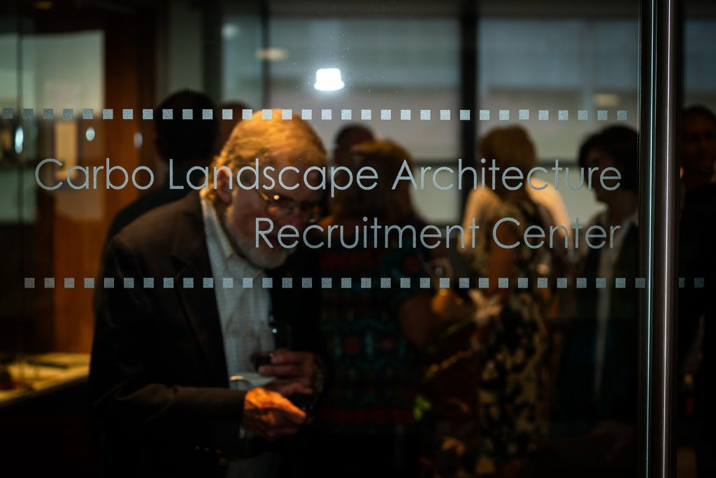 Glass wall that reads Carbo Landscape Architecture Recruitment Center