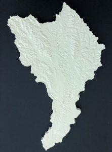 White model of terrain, dark background
