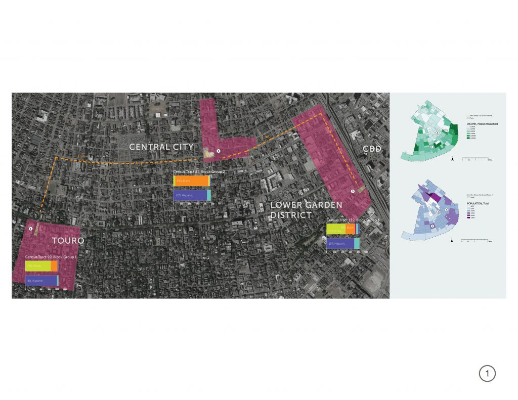 Map of New Orleans with Touro, Central City, Lower Garden Distric, CBD