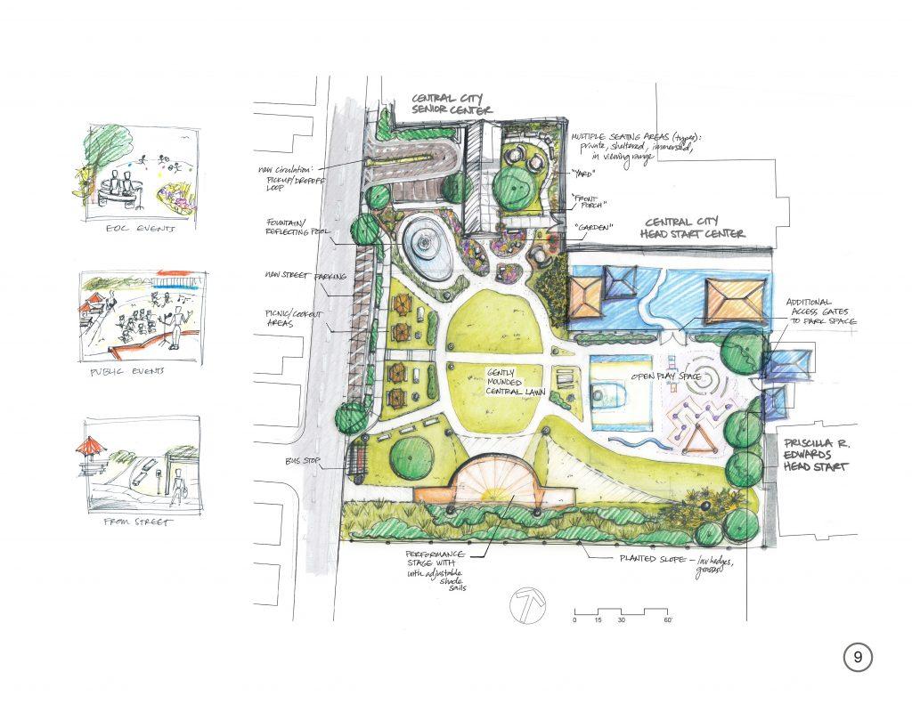 Illustration of public park