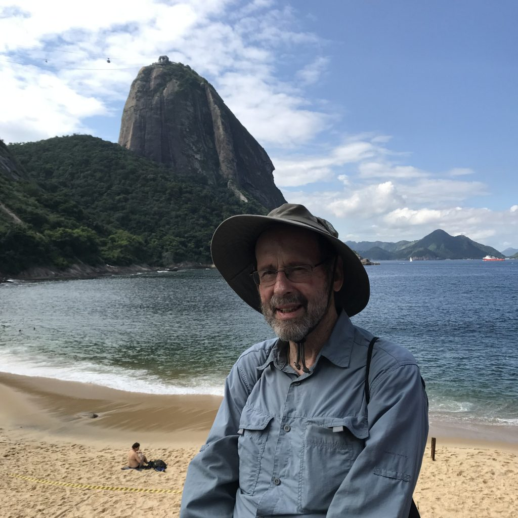 Man in hat on beach, mountain in background