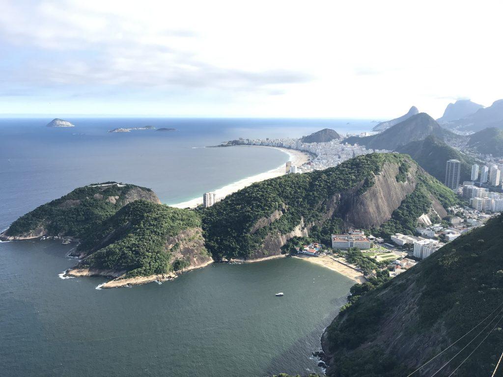 View of mountainous coast by bay