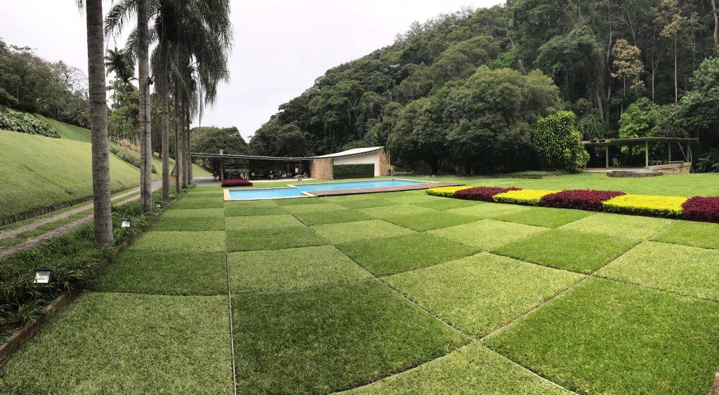 Garden with checkerboard pattern in grass