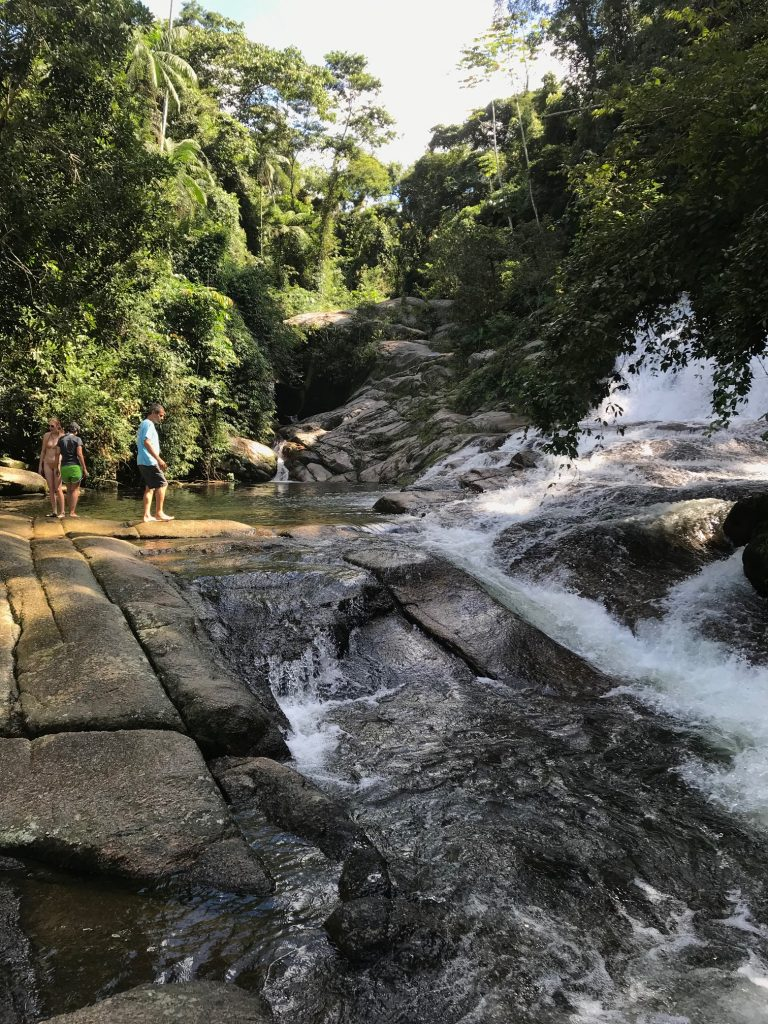 Water cascading over rocks, surrounded by rainforest