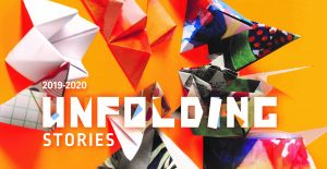 "Text ""Unfolding Stories"" with origami paper shapes, orange background"