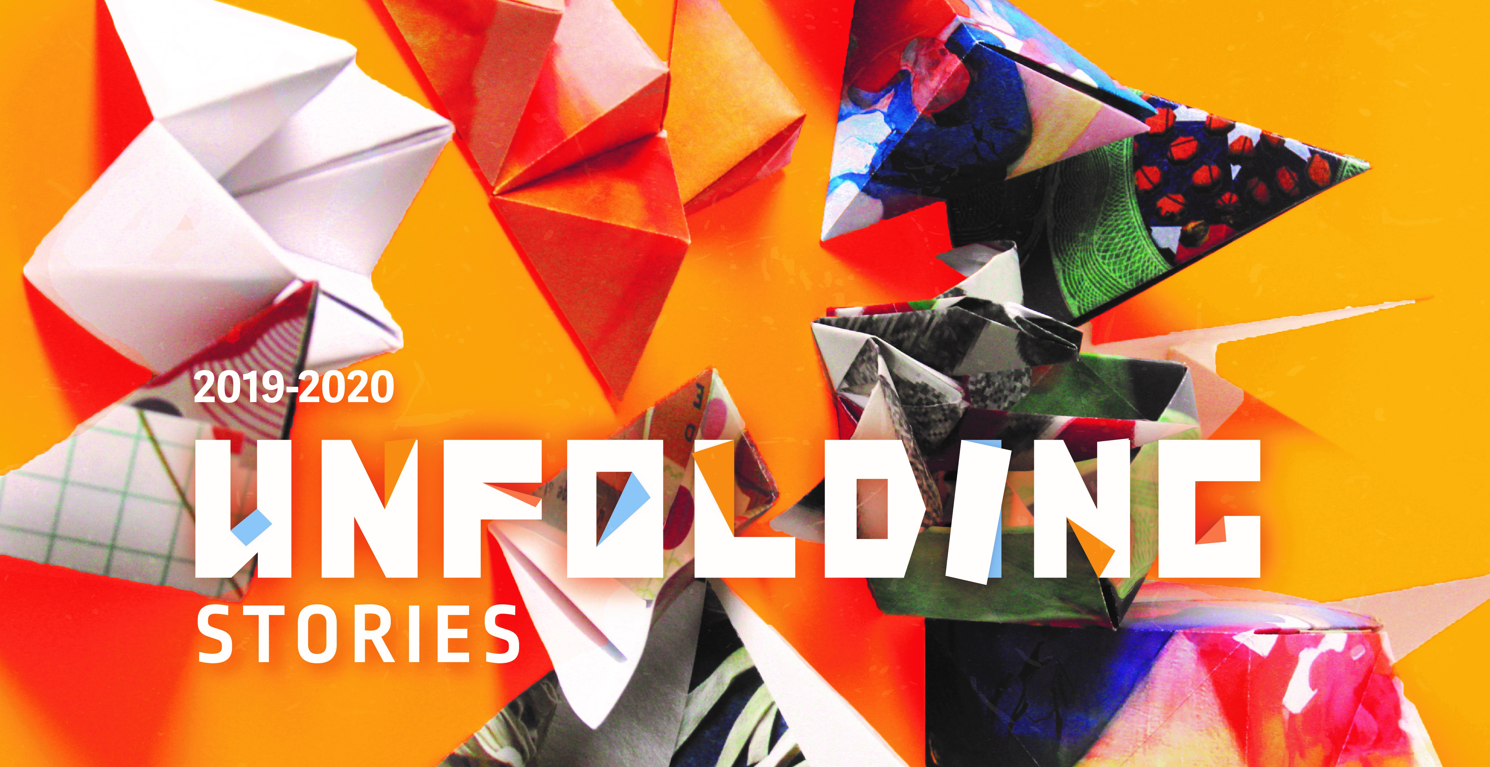 """Text """"Unfolding Stories"""" with origami paper shapes, orange background"""