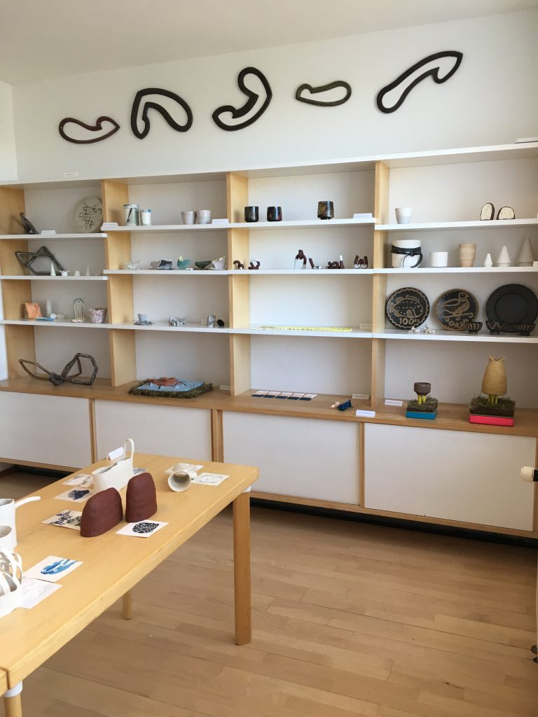 ceramics on shelves