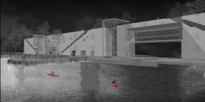 Parasite Lodge project illustration, red boats on water by structure rendered black and white.