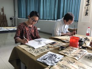 Chinese drawings on table