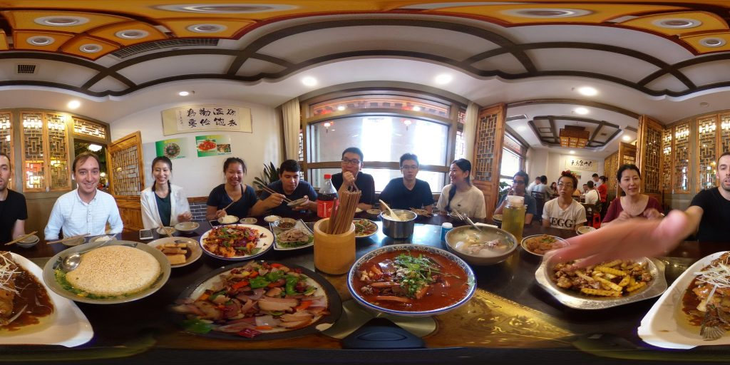 panorama of table in Chinese restaurant