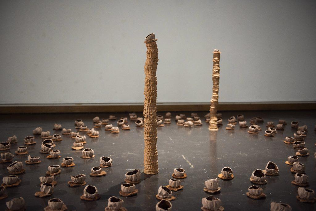 Ceramic sculptures on floor