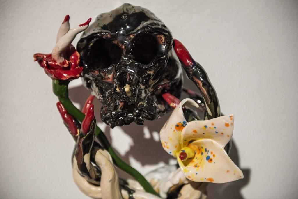 Ceramic skull and flower