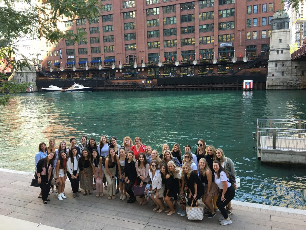 students by canal in Chicago