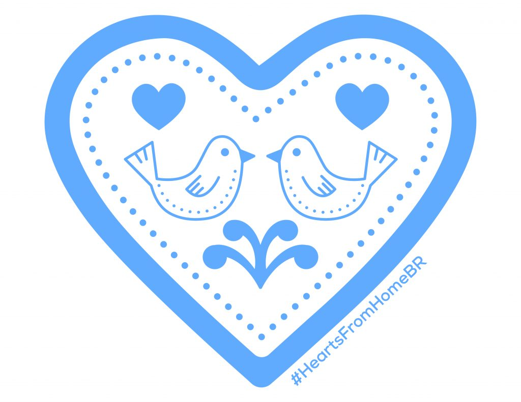 Blue heart with two birds, hearts inside