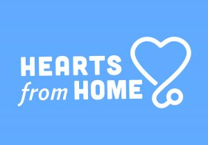 Hearts From Home (white text on blue background)