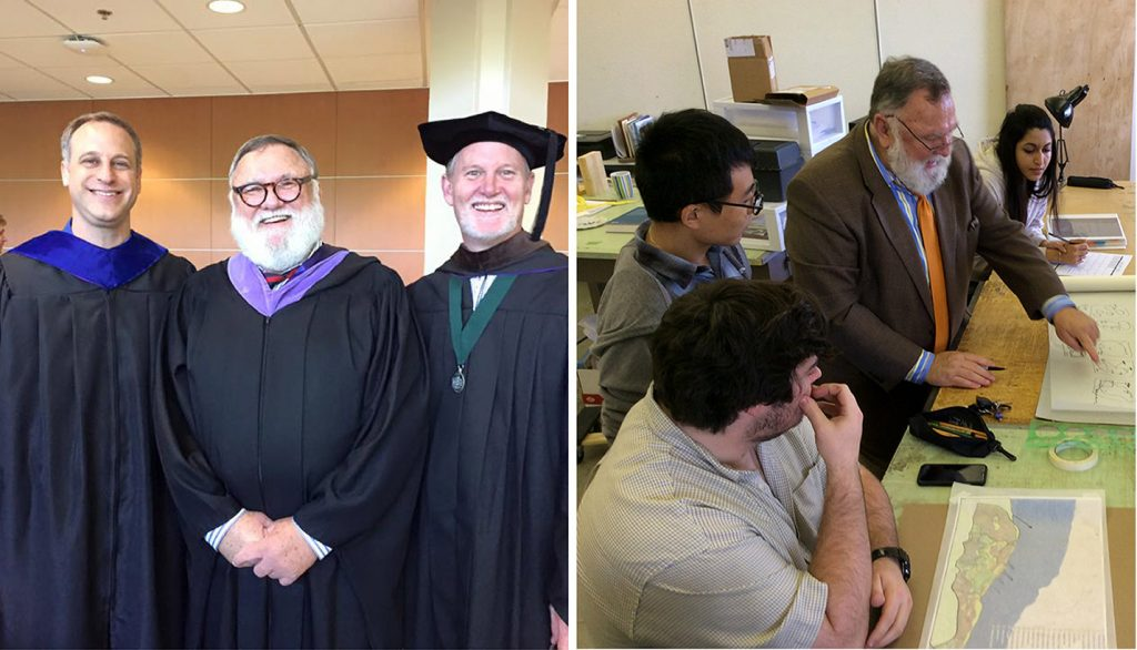 Lewis May in graduation robes with Mark Boyer and Tom Sofranko