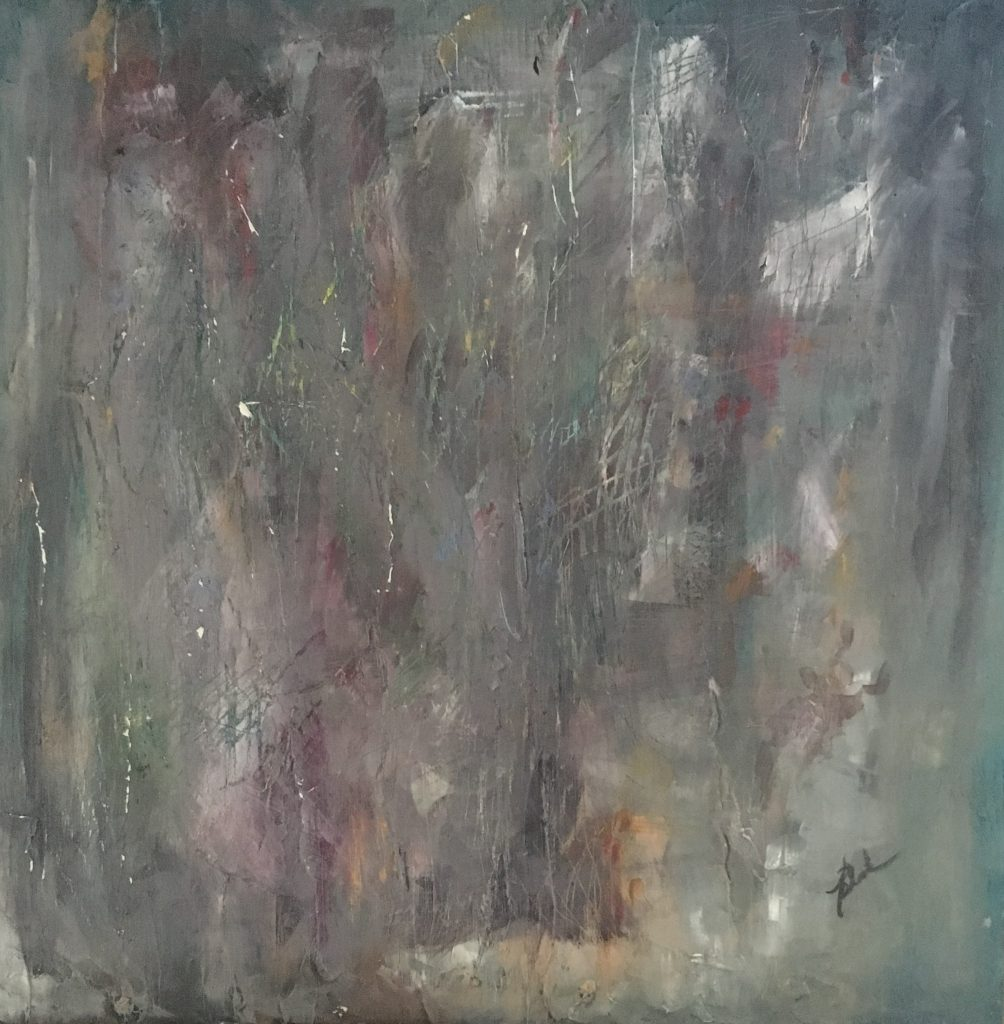 Abstract painting with grays