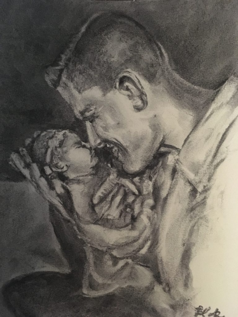 Charcoal drawing of man with baby